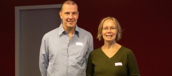 Thomas Schrader und Sabine Wucyna am Stand der Master School Drehbuch