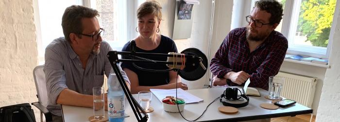 Matthias Zirzow, Ramona Bergmann und Jens Mayer live an der Master School Drehbuch